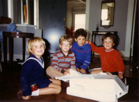 4th birthday, with my hand on cousin Paul Heidhues' shoulder.