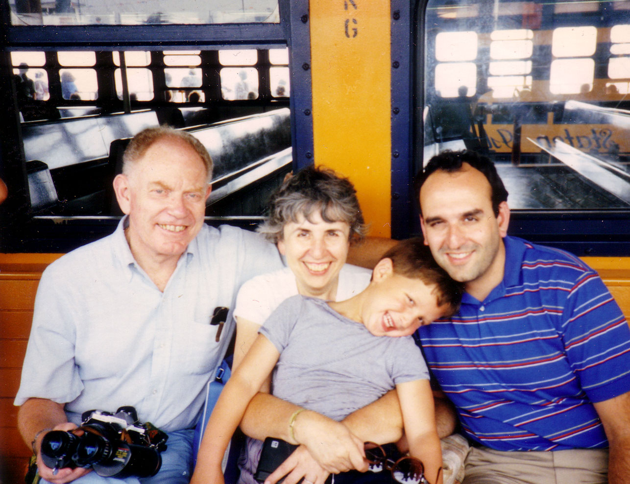 With soon-to-be grandparents, Freida & Julian Reitman, and soon-to-be stepfather, Norm, on the Staten Island Ferry. Circa 1985.