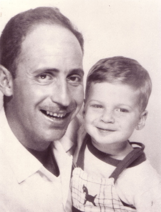 For comparison, a photo of my grandfather, Al Manning, with my father, Greg Manning. Circa the late 1950s.