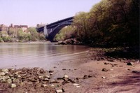 Looking out from Manning's Beach in Inwood Hill Park over the Harlem River Canal towards the Bronx and the Henry Hudson Bridge.