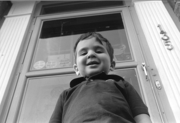 My brother, Ethan Chaleff, age 3 or 4. In front of the old house on Mayhew Dr.