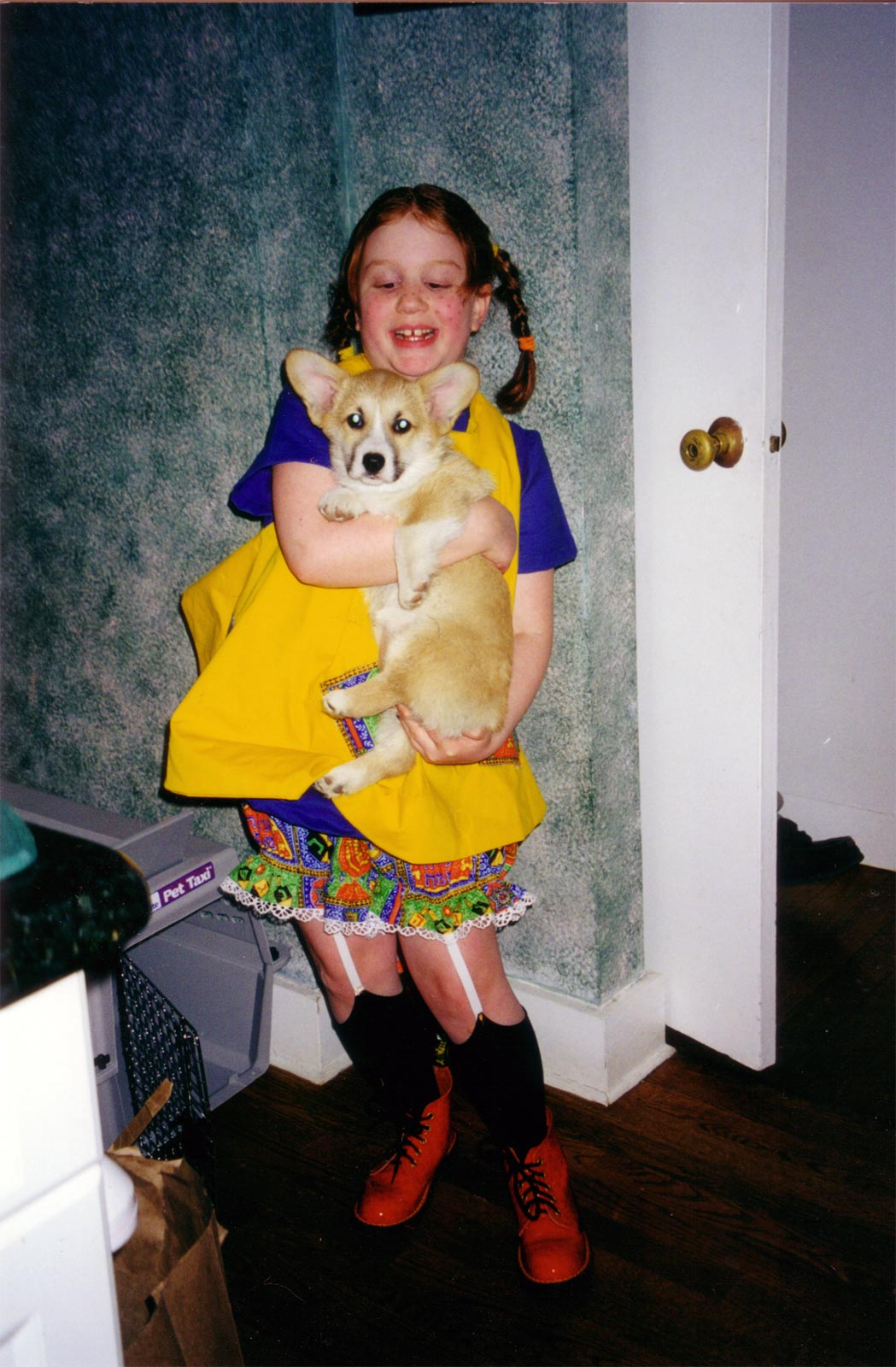 Lauren, dressed as Pippi Longstocking, with our dog Zoe in 2000.