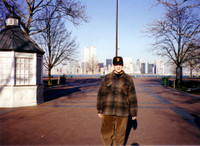 Me on Liberty Island in 1994 with the World Trade Center towers in the background.