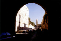 Entering Jerusalem through the Damascus Gate, I believe.