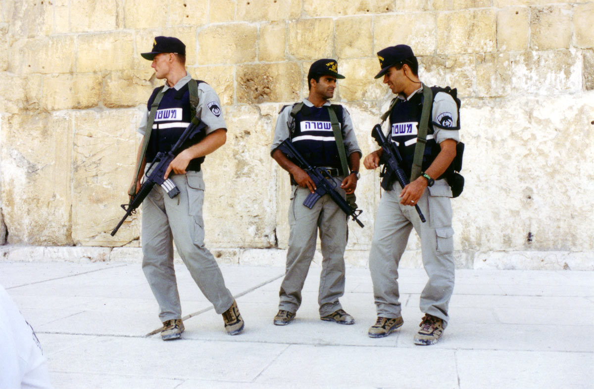 Some Israeli policemen, hanging out near the Kotel.