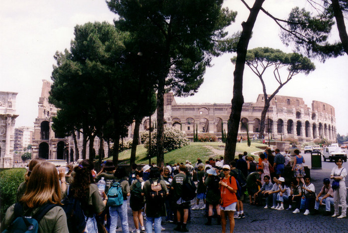 My group gathers near the Coliseum in Rome, Italy, Summer 1994.
