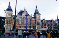 Centraal Station, the main rail transportation hub and point around which Amsterdam is oriented.