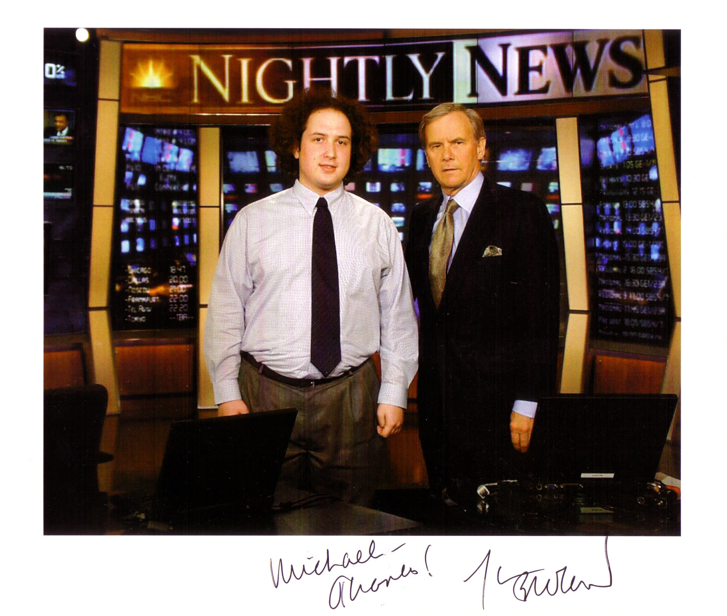 """""""No, no. Thank YOU, Mr. Brokaw (for not firing me because of my wacky hair and non-wrinkle-free shirt)."""""""