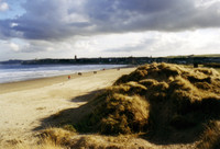 Looking back at St. Andrews from the beach alongside the world's first golf course. The castle is all the way to the left.