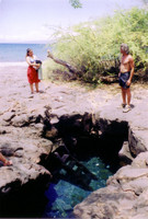 "A fresh water ""puka"" down the beach from our camp site. It was nice to be able to rinse off the saltwater, and also to swim in a pretty scary cave."
