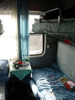 The interior of my soft-sleeper compartment. Quite nice, really, especially since I had it to myself for the second day of my two day trip to Korla.