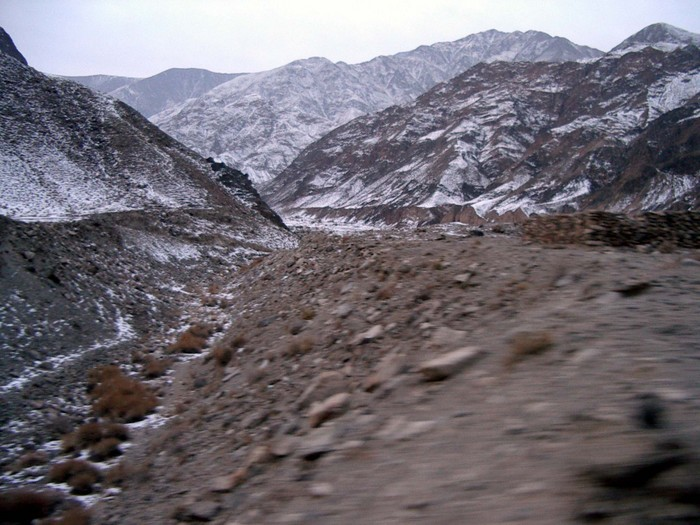 Xinjiang's frozen mountains...somewhere between Turpan and Korla.