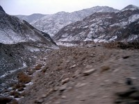 Xinjiang's frozen mountains...somewhere between Turpan and Korla.