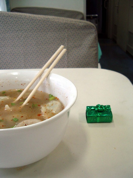 Said dumpling soup, and the little candy gift I was given by a member of the train staff.