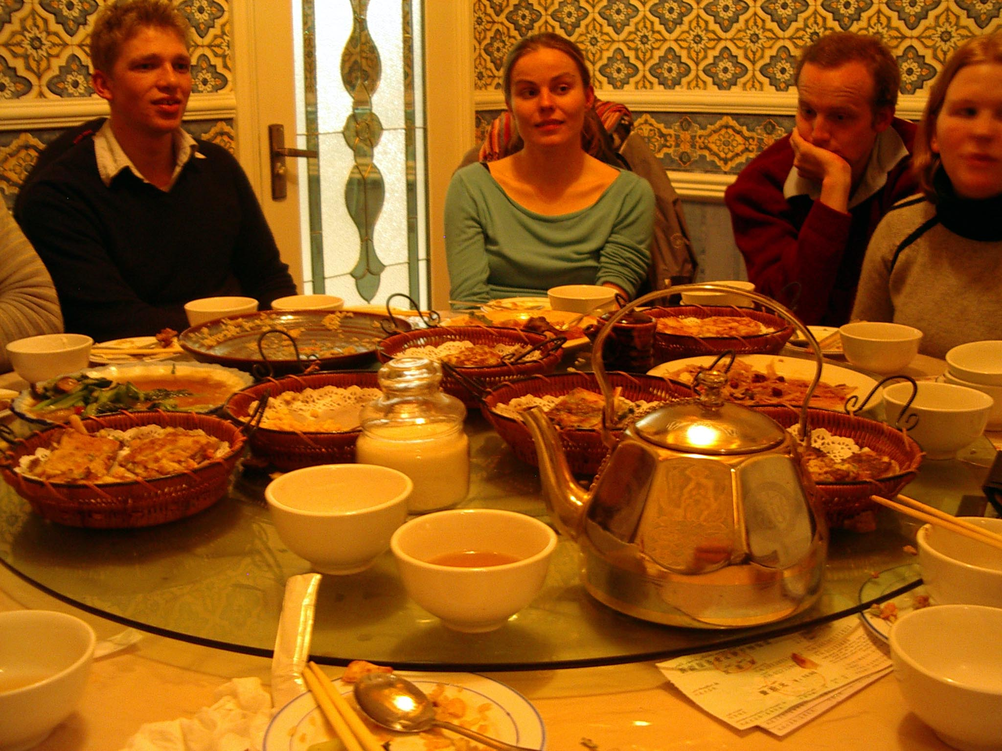 Dinner on my second night in Korla, at a Uyghur restaurant. L to R: William, Carrie, Big David...the Circle English boss, Zoe. All from England.