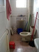The bathroom...not so nice, although we have added a toilet seat recently. My mother requested this one.