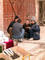 Uyghur children playing in the streets of Kasghar.