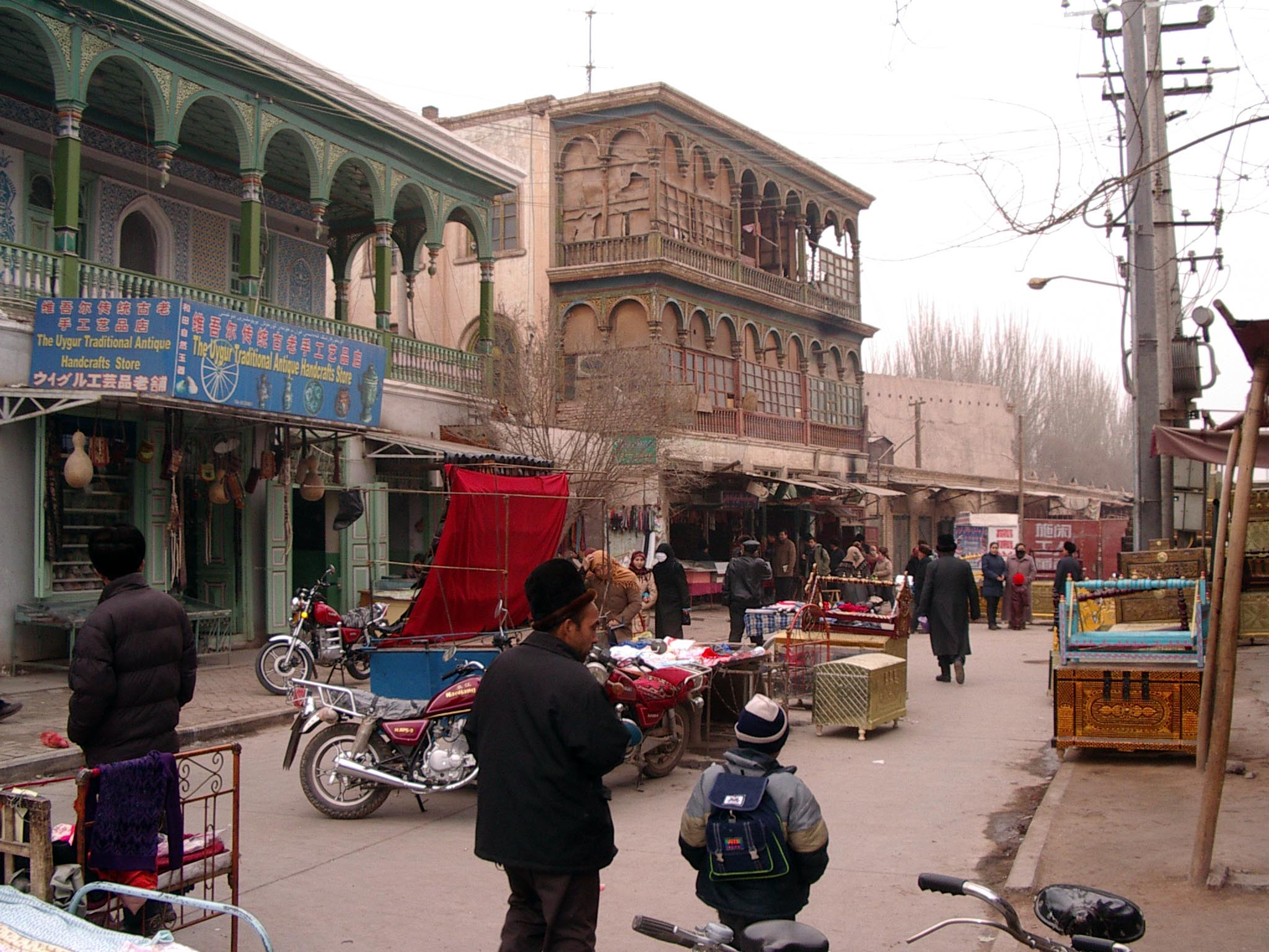Kashgar street scene with Uyghur architecture.