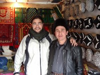 "Lincoln bought a rug ""Made as Turkey"" from this guy in Korla's Uyghur market."
