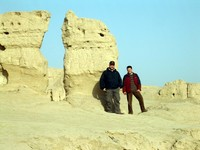 Me and David Shallcross, posing in front of some ruins.