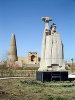 "Also known as, ""The Tower for Showing Gratitude to Eminhoja"", this mosque was built in 1777 to commemerate a Uyghur military victory. That statue is of Eminhoja."