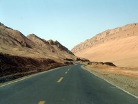 The road to Bezeklik goes through the Flaming Mountains.