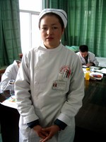 Kambayer, a friend of ours who works as a nurse at Korla's Uyghur hospital. Chinese nurses have not yet adopted the colorful scrubs seen in American hospitals.