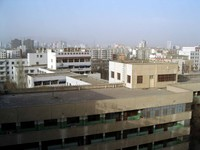 A view of the Korla skyline from the roof of the Uyghur hospital.