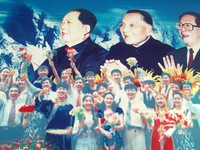 "The ""mountains"" of Chinese politics: Mao Zedong, Deng Xiaoping, and Jiang Zemin. Those Uyghur's sure look happy to see 'em!"