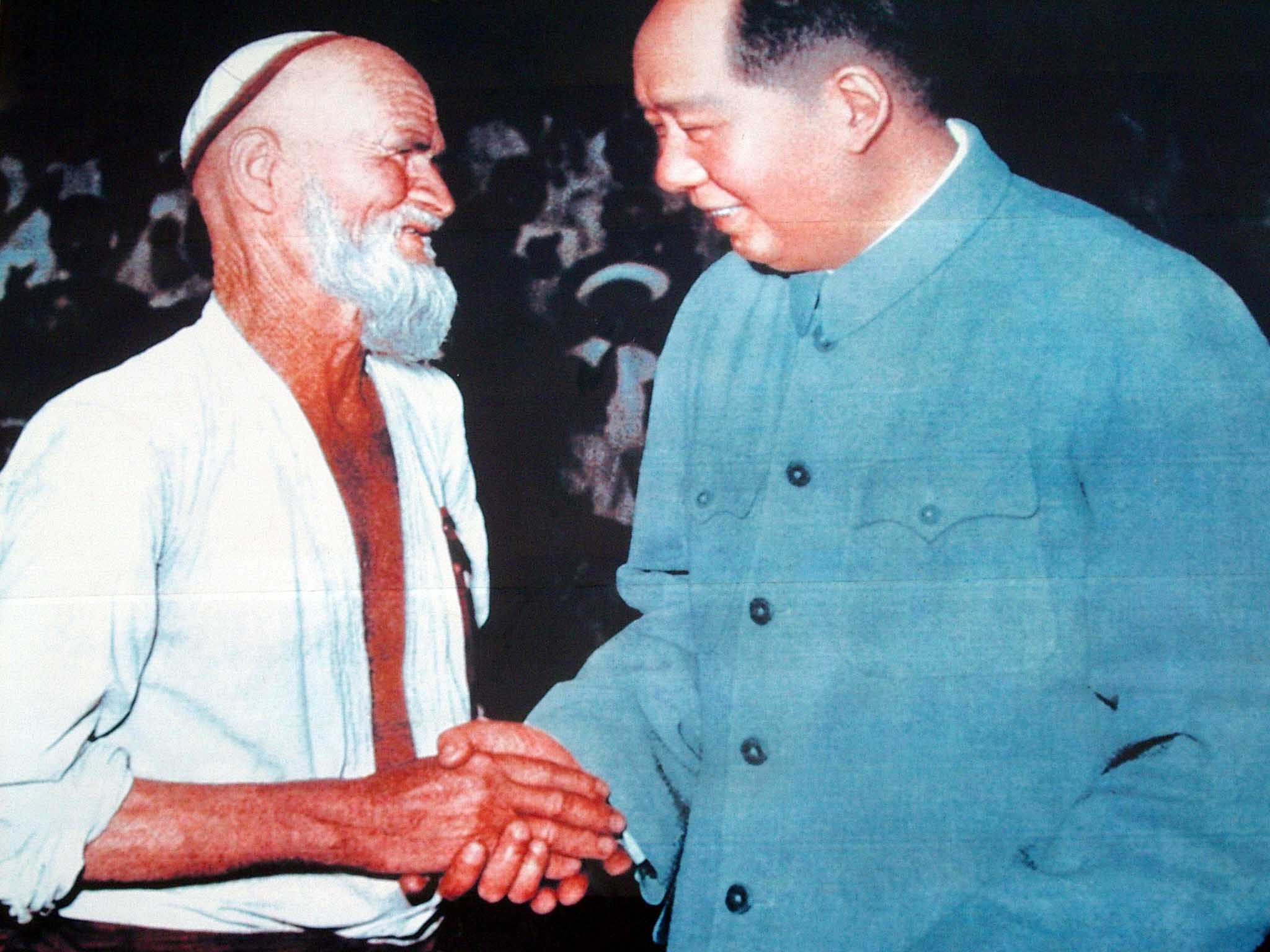 Mao Zedong with a very famous Uyghur. Supposedly this old man rode his donkey all the way from Kasghar to Beijing to personally thank Mao for liberating China.