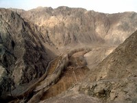 """It's called """"The Iron Gate"""" because Silk Road traders and travellers had no choice but to pass between these two well-defended mountains. The dirt path along the left bank of the river is part of the actual Silk Road."""