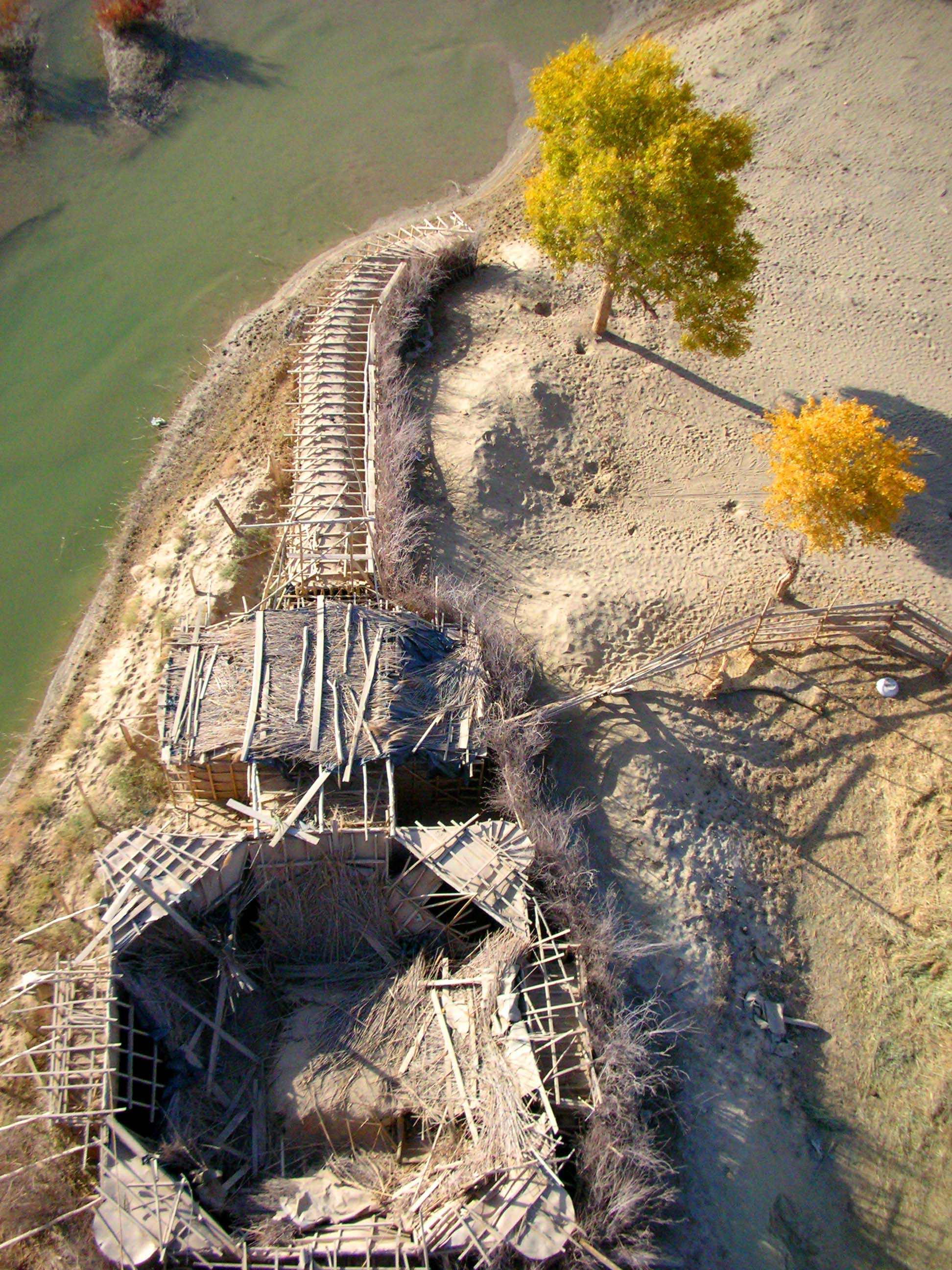 Looking straight down from the rickety observation tower at Lo Bu Ren Chun Zai, along the Tarim River.