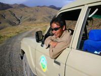 Our awesome Tibetan driver, Sonam. During the 5-day round trip journey from Lhasa to Everest he and his 18-year old Land Cruiser treated us very well.