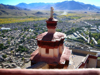 The view from the top of Gyantse's fortress, looking down over the town.