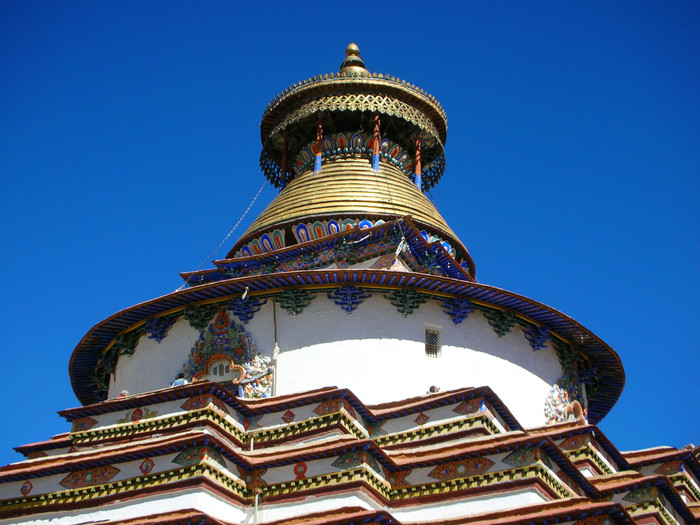 The unique stylings of the Kumbum Pagoda at Palchoi Monastery in Gyanste, built in the early 15th century.