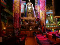 A statue inside the main hall of the Jokhang Temple. I believe this is supposed to be Tsongkapa?
