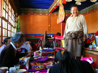 These Tibetans were crafting temple decorations in a small room accessible from the roof of Ramoche Temple.
