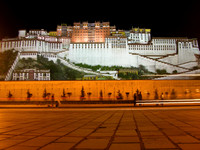 The Potala Palace at night.