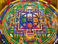 An example of the sand art for which Tibetans are famous, seen at Kundeling Monastery. Notice the damaged area at the bottom.