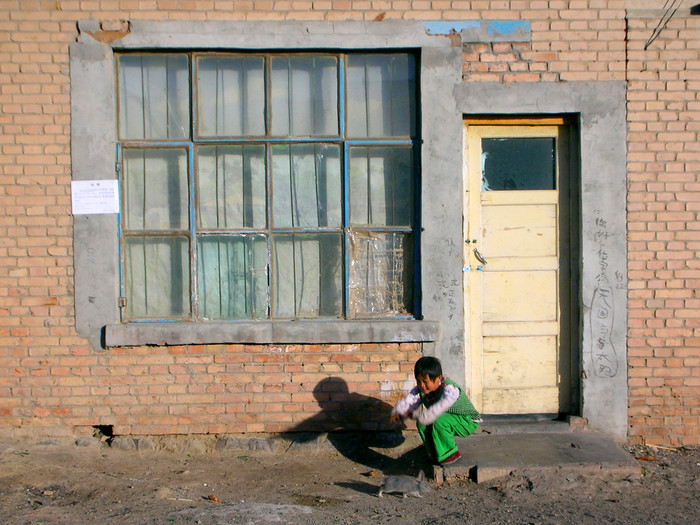 A young girl plays with her pet rabbit in Shimianquan (aka Asbestosville)... the worst place I've ever been in Xinjiang.