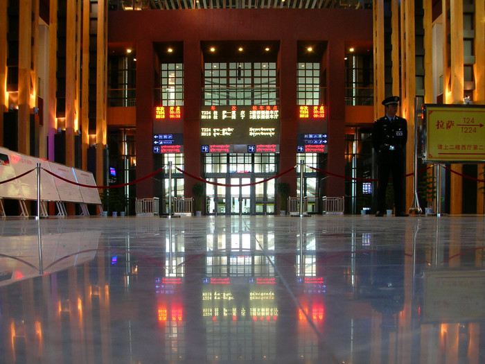 Train stations are usually ugly, utilitarian affairs in China. Not the new train station in Lhasa!