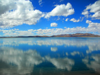 A perfect reflection of a perfect sky at Cuona Hu in northern Tibet.