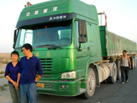 When I was heading back to Korla, Xinjiang I got stuck in the small town of Miran. Thankfully, I was able to hitch a ride with these nice truckers. They brought me seven hours to Korla and wouldn't accept a dime!