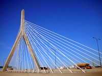 Driving past Boston's Bunker Hill Bridge.