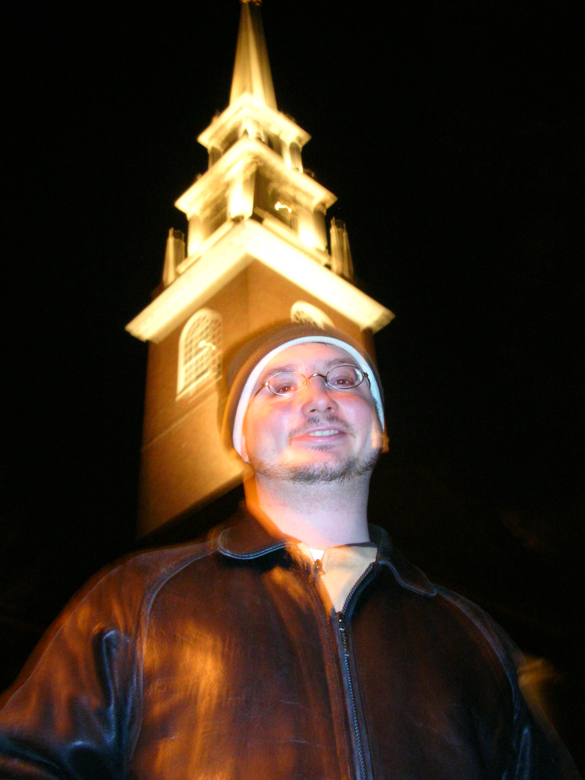My friend, Dave Feinberg, posing in front of Harvard's Memorial Church.