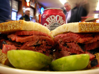 Better yet, just stick to Katz's pastrami on rye. Finest sandwich ever. Wash it down with some of Dr. Brown's Black Cherry soda.