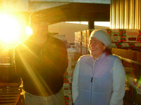 Sunrise at San Francisco's wholesale produce market with my father and our friend, Kiva.