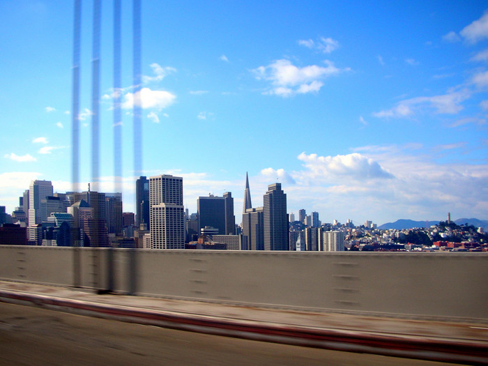 The San Francisco skyline as seen from the Bay Bridge.