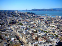 Looking across the rooftops of northern San Francisco from Coit Tower on Telegraph Hill.