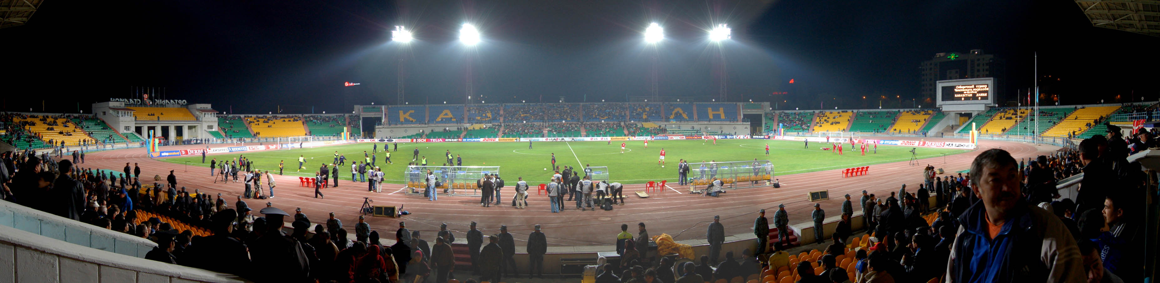 A panorama at Almaty's Central Stadium, taken before the start of the game between Kazakhstan and Denmark.